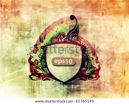 grunge retro floral shield design, vector background. - stock vector