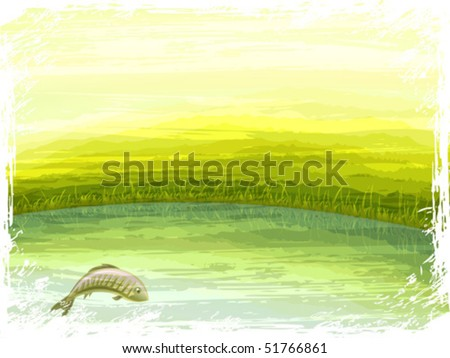 "Grunge retro-styled summer lake scenery with a fish jumping out of the water (the ""bleached"" overlay effect and the white frame are contained in separate layers; this is an AI-optimized EPS 8 file) - stock vector"