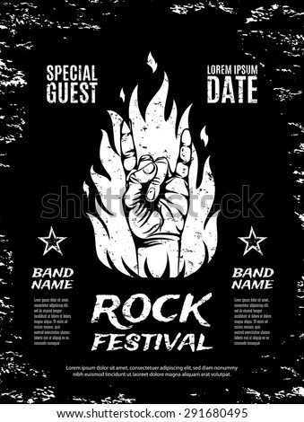 Grunge, rock festival poster, with rock n roll sign and fire. Vector illustration. - stock vector