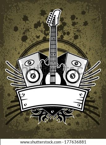 Grunge Rock Music Background - stock vector