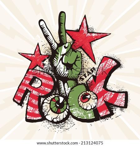 Grunge rock poster vector illustration - stock vector
