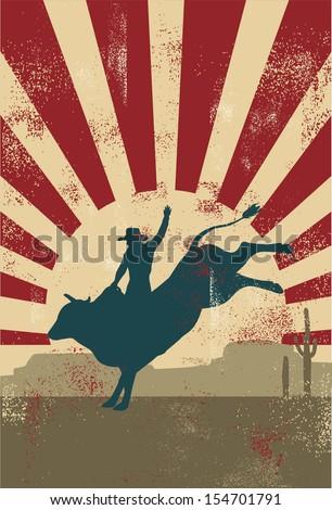 Grunge rodeo poster,vector - stock vector