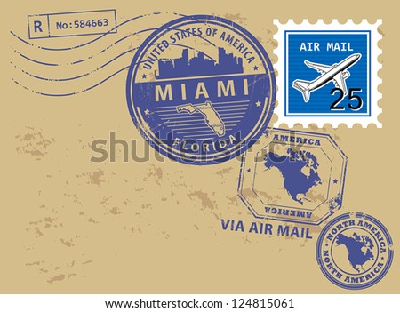 Grunge rubber post stamps set with name of Florida, Miami, vector illustration