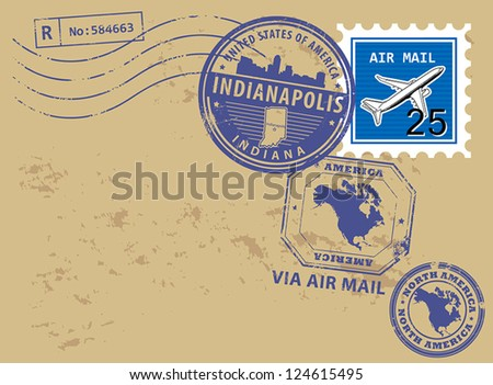 Grunge rubber post stamps set with name of Indiana, Indianapolis, vector illustration