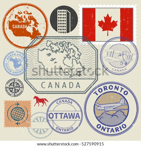 Grunge rubber stamp and signs set with the name and map of Canada, North America, vector illustration
