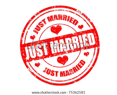 Grunge rubber stamp and the text just married written inside,vector illustration - stock vector