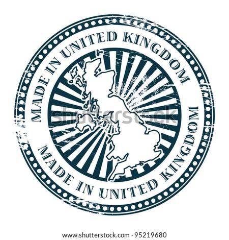 Grunge rubber stamp made in United Kingdom, vector illustration - stock vector