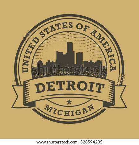 Grunge rubber stamp or label with name of Detroit, Michigan, vector illustration - stock vector
