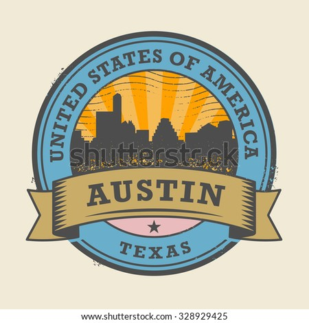 Grunge rubber stamp or label with name of Texas, Austin, vector illustration - stock vector