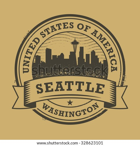 Grunge rubber stamp or label with name of Washington, Seattle, vector illustration - stock vector