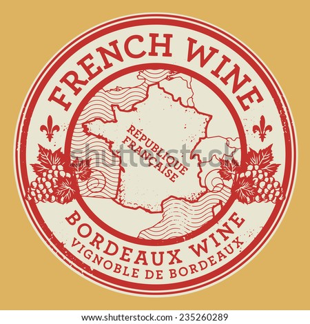 Grunge rubber stamp or label with words French Wine, Burgundy Wine, vector illustration - stock vector