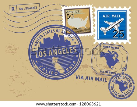 Grunge rubber stamp set with name of California, Los Angeles, vector illustration