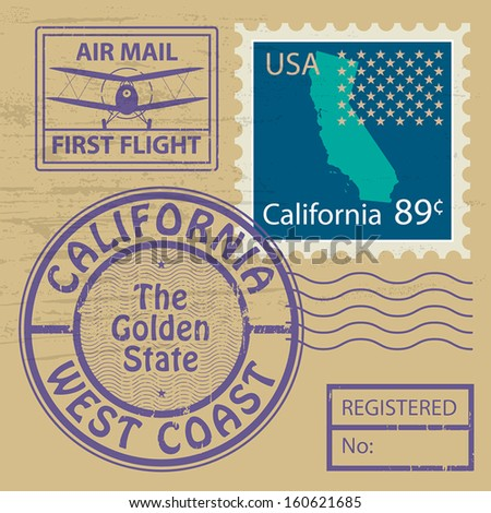 Grunge rubber stamp set with name of California, vector illustration - stock vector