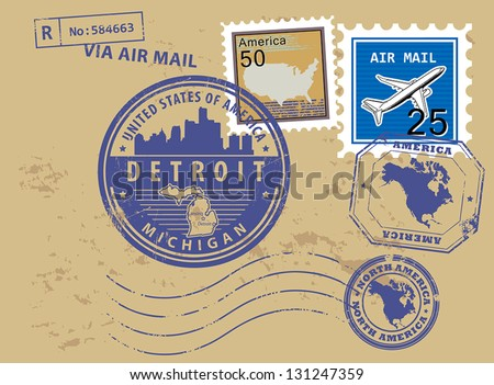 Grunge rubber stamp set with name of Michigan, Detroit, vector illustration - stock vector