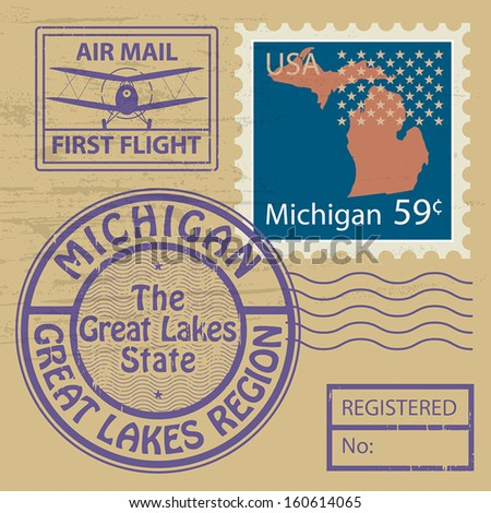 Grunge rubber stamp set with name of Michigan, vector illustration - stock vector