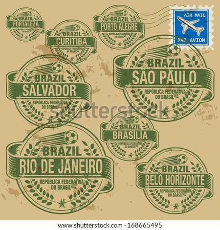 Grunge rubber stamp set with names of Brazil cities, vector illustration