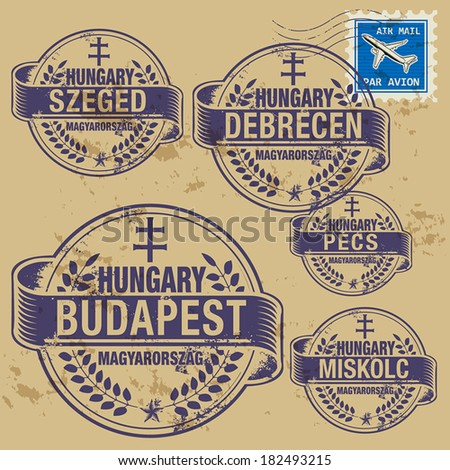 Grunge rubber stamp set with names of Hungary cities, vector illustration