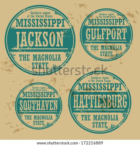 Grunge rubber stamp set with names of Mississippi cities, vector illustration - stock vector