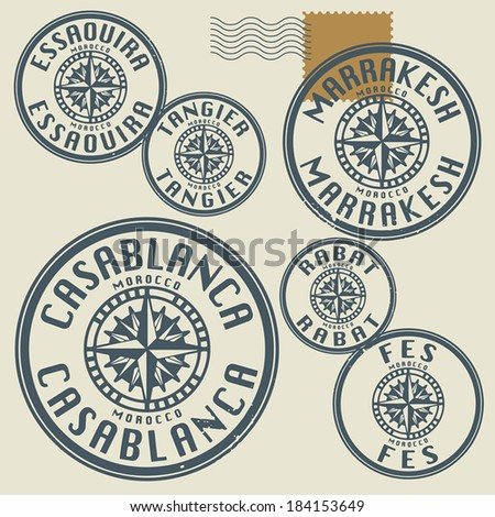 Grunge rubber stamp set with names of Morocco cities, vector illustration - stock vector