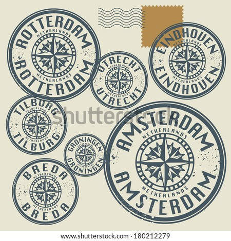 Grunge rubber stamp set with names of Netherlands cities, vector illustration - stock vector