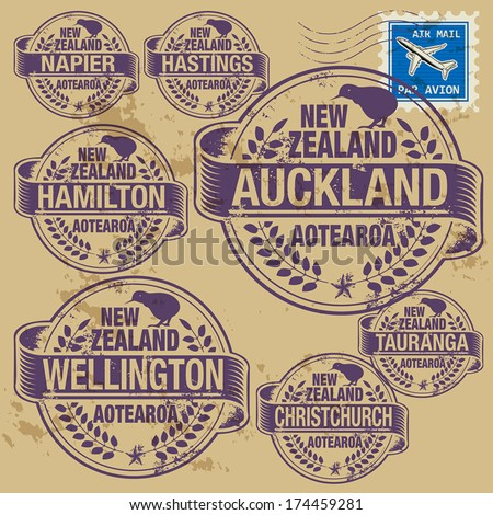 Grunge rubber stamp set with names of New Zealand cities, vector illustration - stock vector
