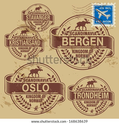 Grunge rubber stamp set with names of Norway cities, vector illustration - stock vector