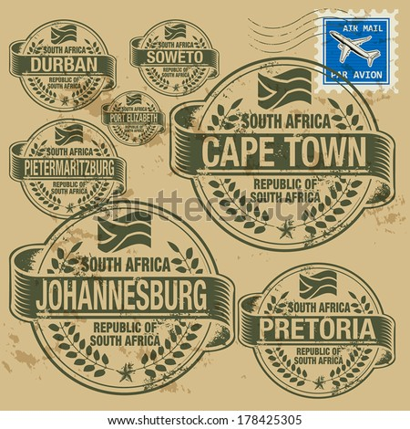 Grunge rubber stamp set with names of South Africa cities, vector illustration - stock vector