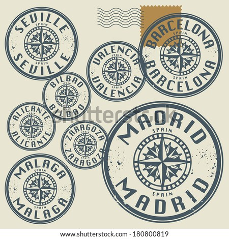 Grunge rubber stamp set with names of Spain cities, vector illustration - stock vector