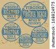 Grunge rubber stamp set with names of Virginia cities, vector illustration - stock vector