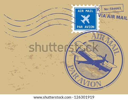 Grunge rubber stamp set with text air mail, par avion, vector illustration - stock vector
