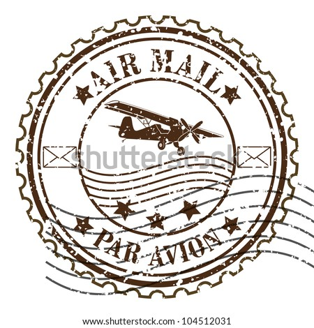 Grunge rubber stamp / Vector grunge air mail - stock vector