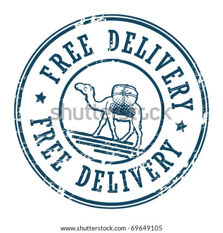 Grunge rubber stamp with a Camel and the text Free Delivery inside, vector illustration - stock vector