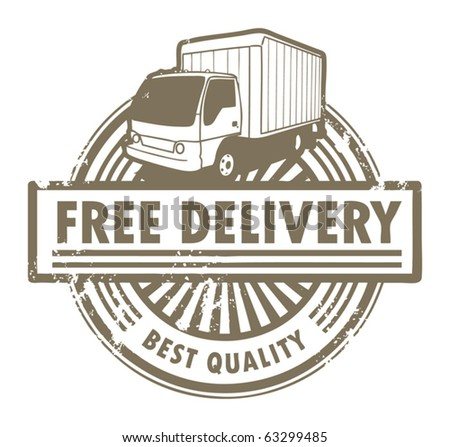 Grunge rubber stamp with a delivery car and the text Free Delivery inside, vector illustration - stock vector