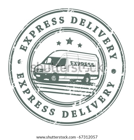 Grunge rubber stamp with a delivery car in the middle and the text express delivery written inside the stamp, vector illustration - stock vector