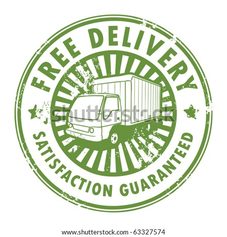 Grunge rubber stamp with a delivery car in the middle and the text free delivery written inside the stamp, vector illustration