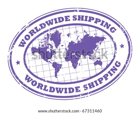 Grunge rubber stamp with a world map and the text worldwide shipping written inside the stamp, vector illustration - stock vector