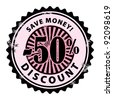Grunge rubber stamp with 50% and the text discount, save money inside, vector illustration - stock photo