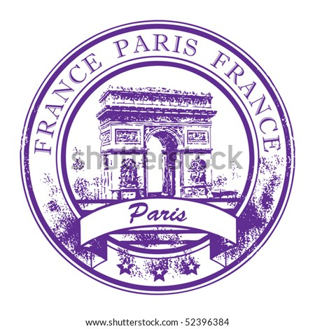 Grunge rubber stamp with Arch of Triumph and the word Paris, France inside, vector illustration - stock vector