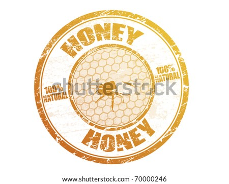 Grunge rubber stamp with bee on honeycomb and the text honey written inside the stamp - stock vector