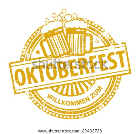 Grunge rubber stamp with beer mugs and the text Oktoberfest written inside the stamp, vector illustration - stock vector