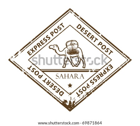 Grunge rubber stamp with Camel and the text Desert Post, vector illustration - stock vector