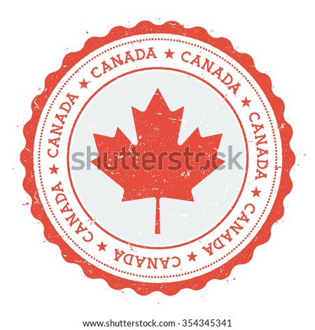 Grunge rubber stamp with Canada flag. Vintage travel stamp with circular text, stars and country flag inside it, vector illustration - stock vector
