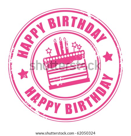 Grunge rubber stamp with candles, cake and the text Happy Birthday written inside the stamp, vector illustration - stock vector