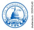 Grunge rubber stamp with Capitol Building and the word Washington, USA inside, vector illustration - stock photo