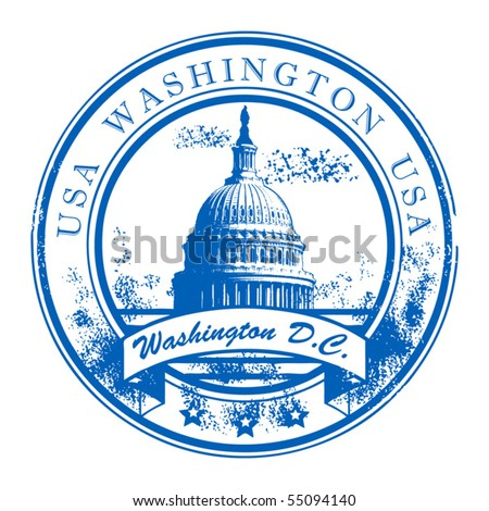 Grunge rubber stamp with Capitol Building and the word Washington, USA inside, vector illustration - stock vector