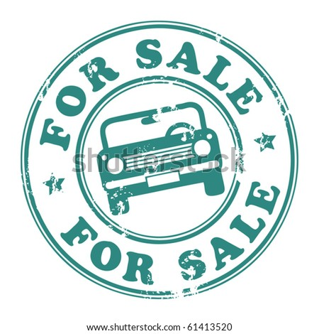 Grunge rubber stamp with car and the word for sale written inside the stamp, vector illustration - stock vector