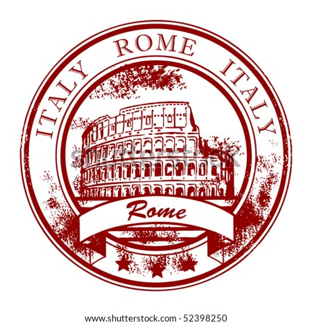 Grunge rubber stamp with Colosseum and the word Rome, Italy inside, vector illustration - stock vector