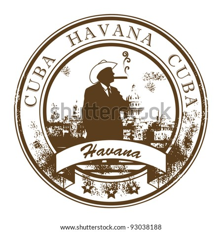 Grunge rubber stamp with Cuba, Havana inside, vector illustration - stock vector