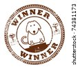 Grunge rubber stamp with dog and word Winner inside, vector illustration - stock vector