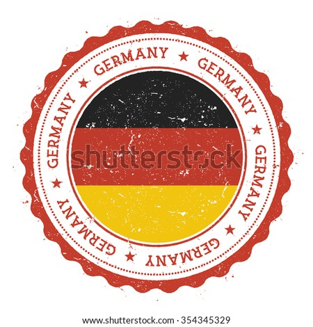 Grunge rubber stamp with Germany flag. Vintage travel stamp with circular text, stars and country flag inside it, vector illustration